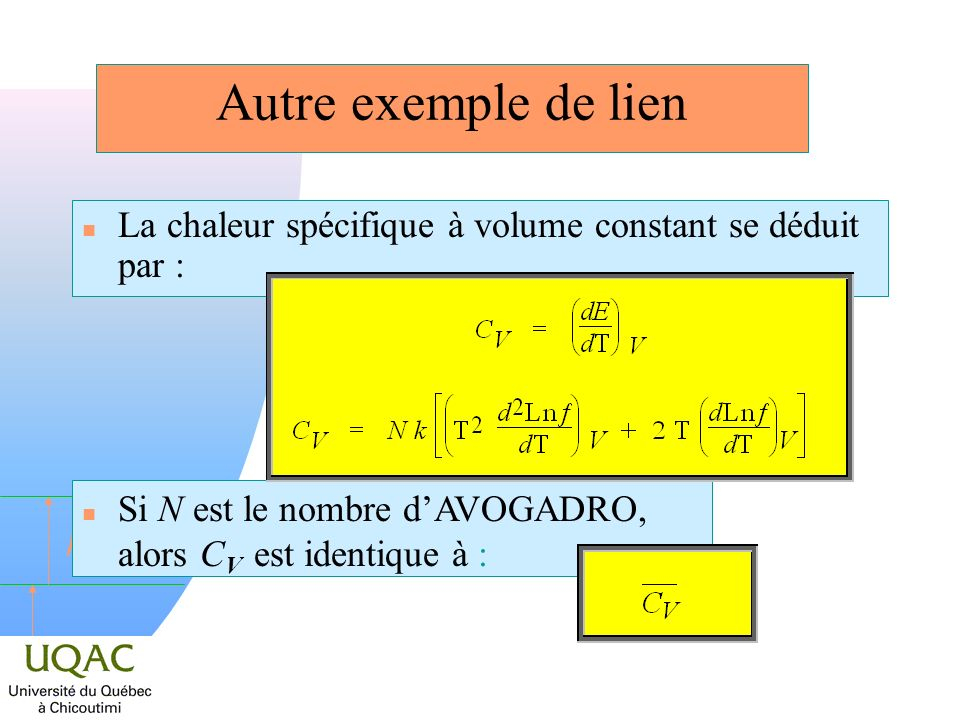 h Fonctions de partition de vibration Lénergie dun niveau est = h ( + 1/2) Le résultat : = ( 1 e h / kT ) 1 Il ny a quune façon de peupler le niveau (le niveau nest pas dégénéré), la fonction de partition molaire F = n Pour une molécule à n atomes :