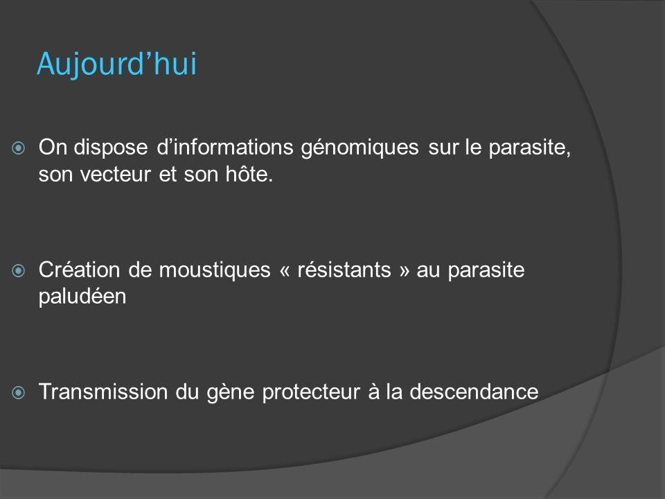 Aujourdhui On dispose dinformations génomiques sur le parasite, son vecteur et son hôte. Création de moustiques « résistants » au parasite paludéen Tr