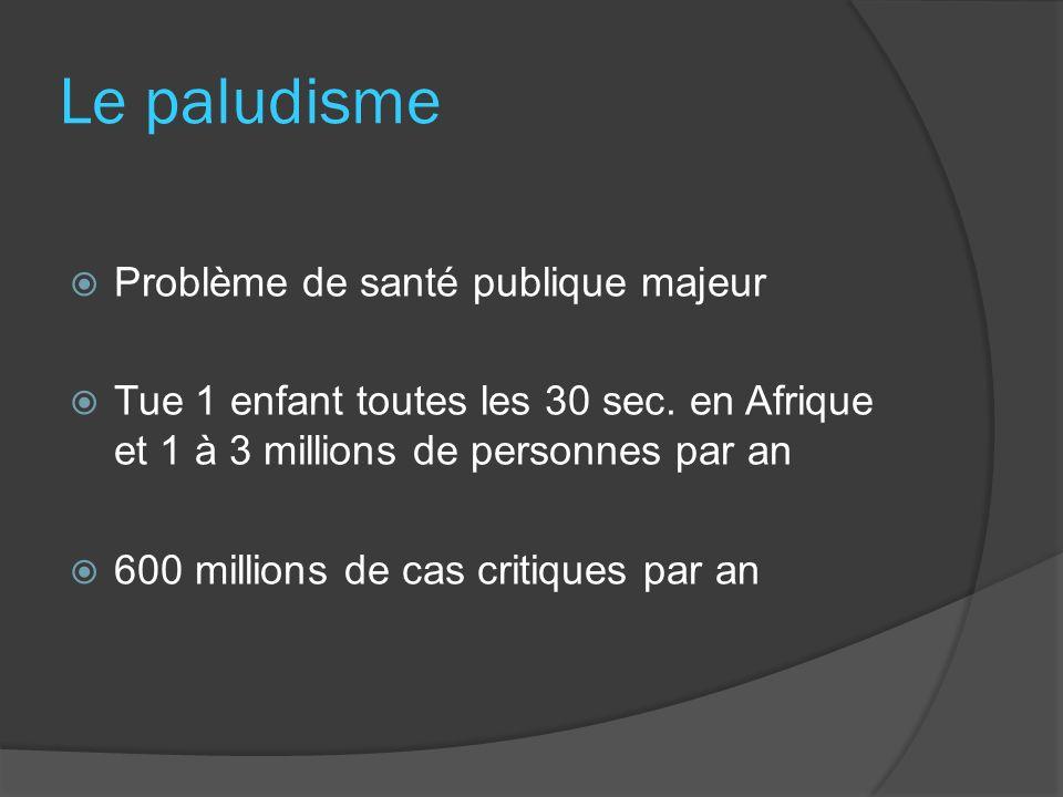 Le paludisme Problème de santé publique majeur Tue 1 enfant toutes les 30 sec. en Afrique et 1 à 3 millions de personnes par an 600 millions de cas cr