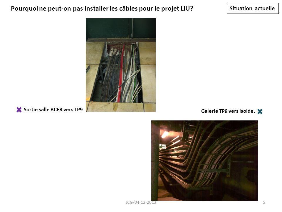 Sortie salle BCER vers TP9 Pourquoi ne peut-on pas installer les câbles pour le projet LIU.