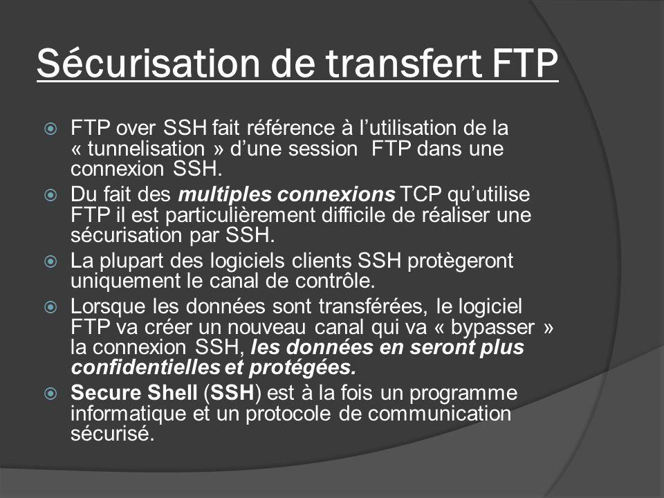 Sécurisation de transfert FTP FTP over SSH fait référence à lutilisation de la « tunnelisation » dune session FTP dans une connexion SSH. Du fait des