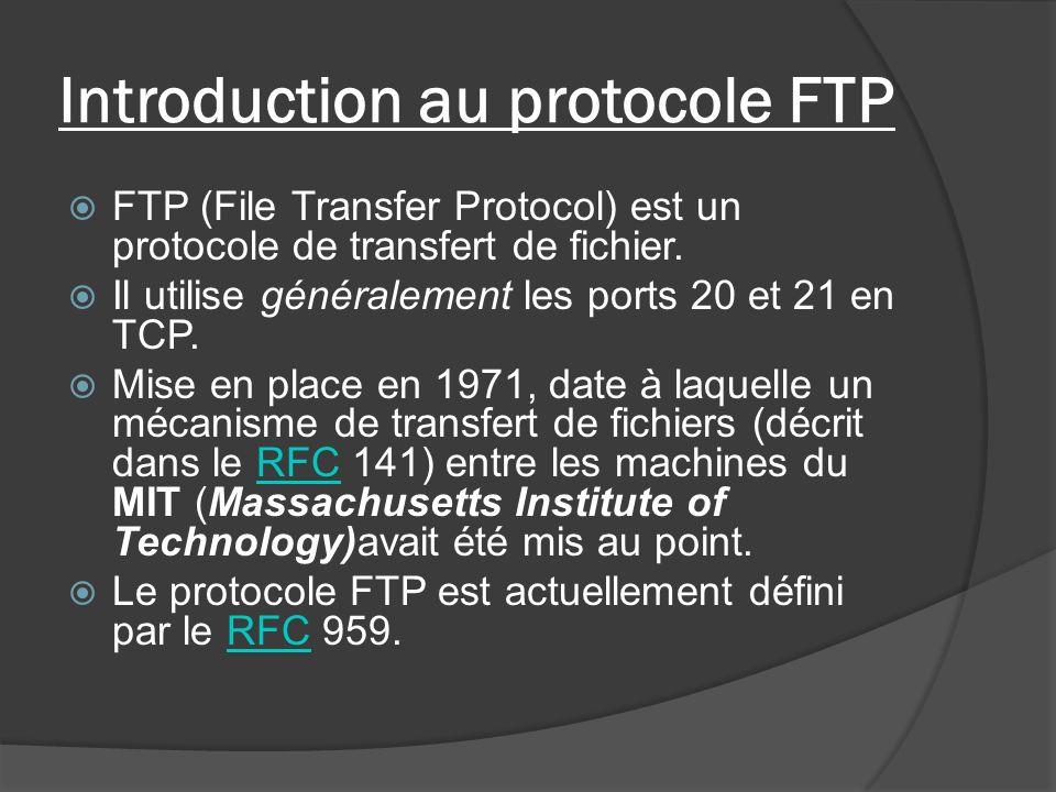 Introduction au protocole FTP FTP (File Transfer Protocol) est un protocole de transfert de fichier. Il utilise généralement les ports 20 et 21 en TCP