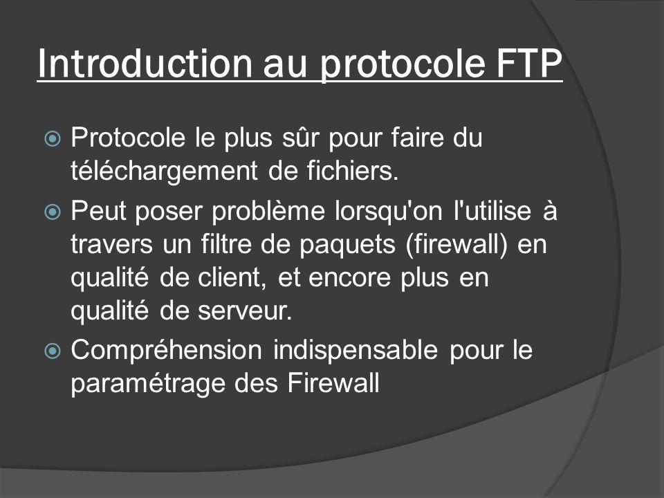 Introduction au protocole FTP Protocole le plus sûr pour faire du téléchargement de fichiers. Peut poser problème lorsqu'on l'utilise à travers un fil