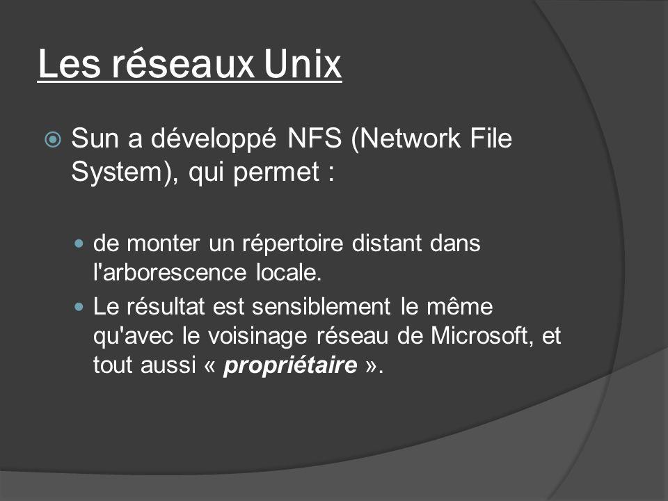 Les réseaux Unix Sun a développé NFS (Network File System), qui permet : de monter un répertoire distant dans l'arborescence locale. Le résultat est s