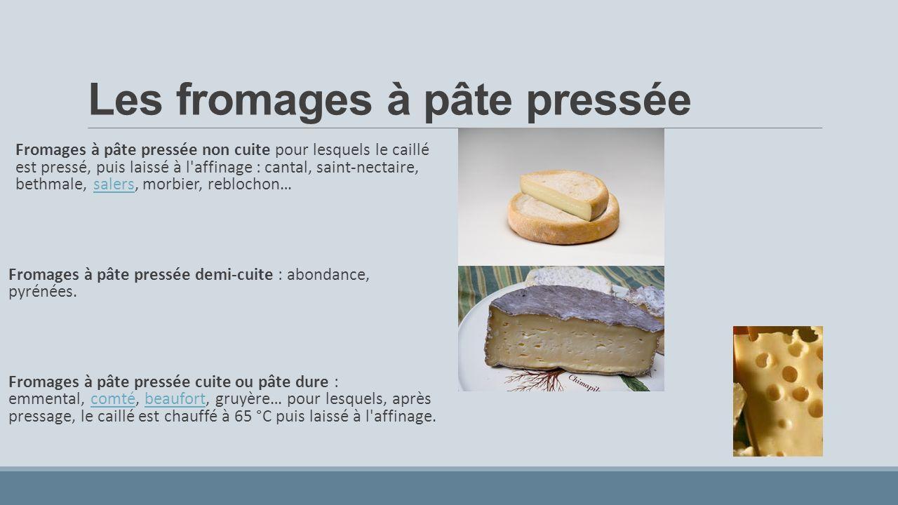 Les fromages à pâte pressée Fromages à pâte pressée non cuite pour lesquels le caillé est pressé, puis laissé à l affinage : cantal, saint-nectaire, bethmale, salers, morbier, reblochon…salers Fromages à pâte pressée demi-cuite : abondance, pyrénées.