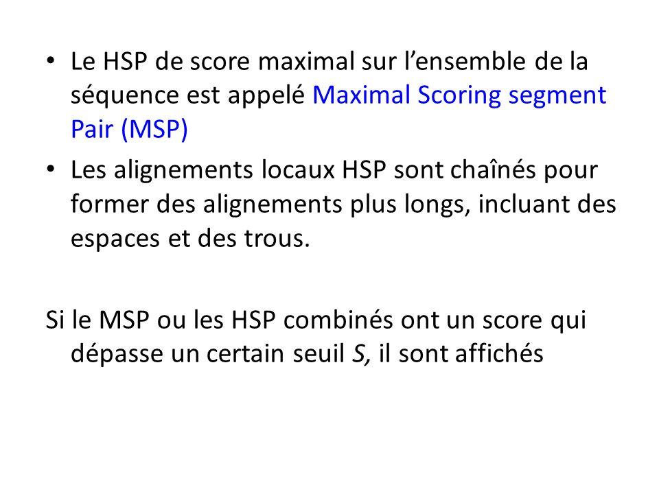 Le HSP de score maximal sur lensemble de la séquence est appelé Maximal Scoring segment Pair (MSP) Les alignements locaux HSP sont chaînés pour former des alignements plus longs, incluant des espaces et des trous.