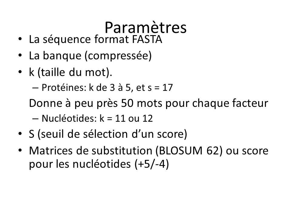 Paramètres La séquence format FASTA La banque (compressée) k (taille du mot).