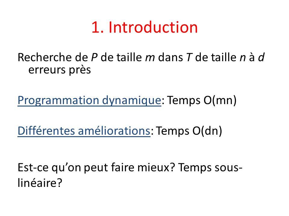 1. Introduction Recherche de P de taille m dans T de taille n à d erreurs près Programmation dynamique: Temps O(mn) Différentes améliorations: Temps O