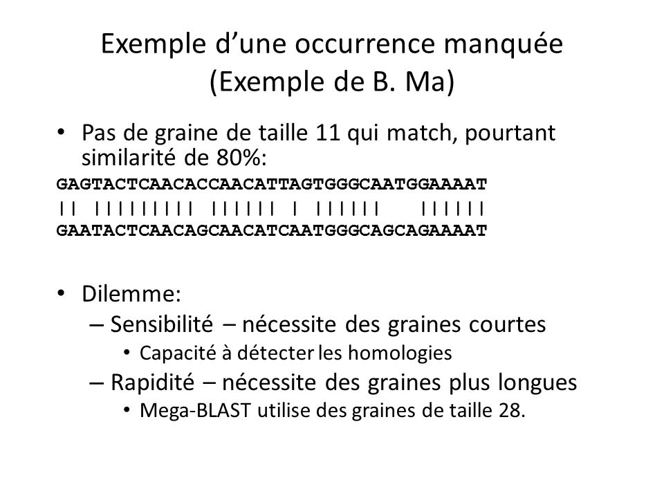 Exemple dune occurrence manquée (Exemple de B.