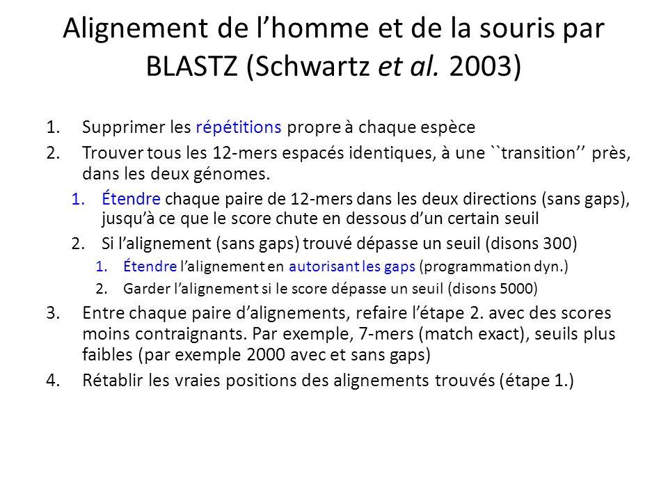 Alignement de lhomme et de la souris par BLASTZ (Schwartz et al.