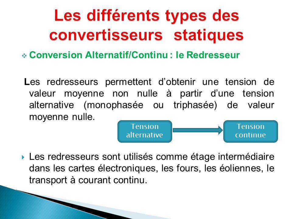 Conversion Alternatif/Continu : le Redresseur Les redresseurs permettent dobtenir une tension de valeur moyenne non nulle à partir dune tension altern