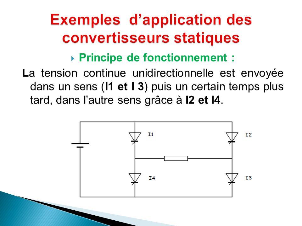 Principe de fonctionnement : La tension continue unidirectionnelle est envoyée dans un sens (I1 et I 3) puis un certain temps plus tard, dans lautre s