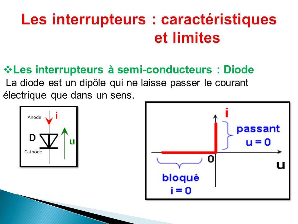 Les interrupteurs à semi-conducteurs : Diode La diode est un dipôle qui ne laisse passer le courant électrique que dans un sens.