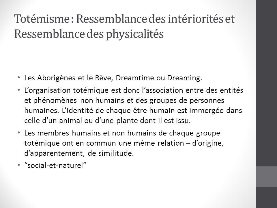 Totémisme : Ressemblance des intériorités et Ressemblance des physicalités Les Aborigènes et le Rêve, Dreamtime ou Dreaming.