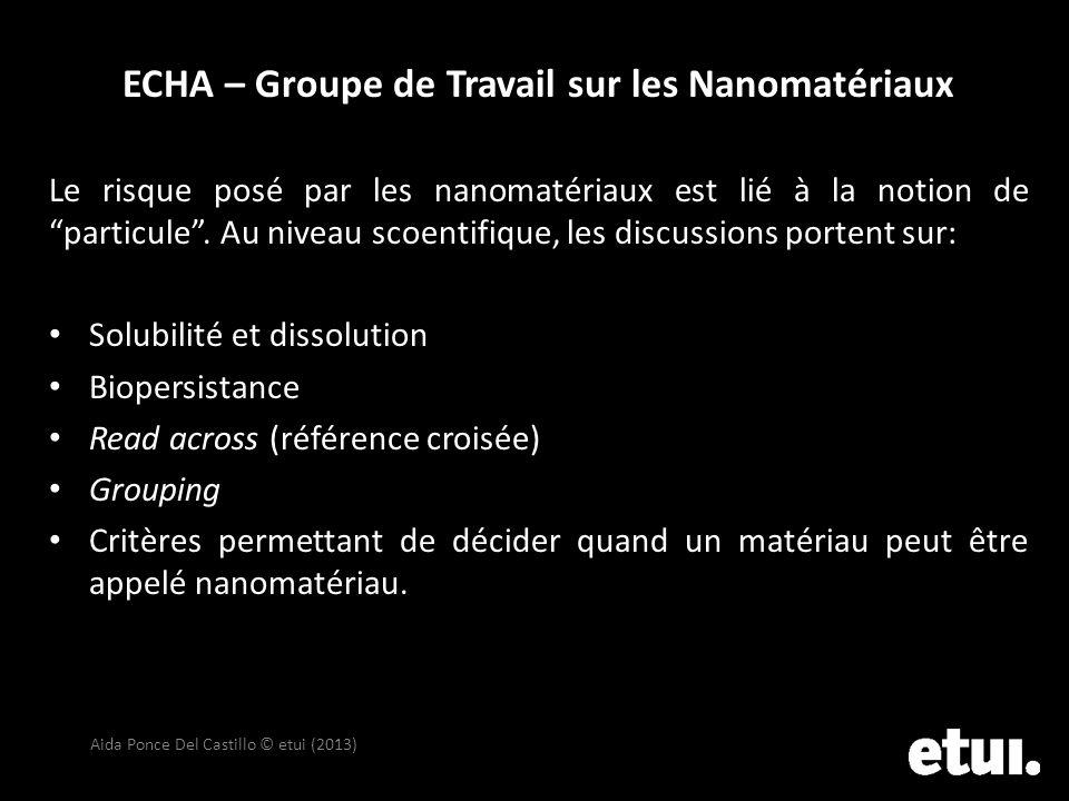 ECHA – Groupe de Travail sur les Nanomatériaux Le risque posé par les nanomatériaux est lié à la notion de particule. Au niveau scoentifique, les disc