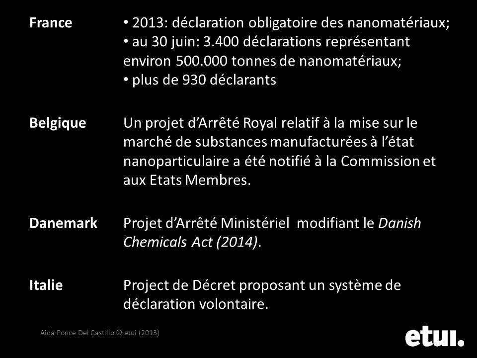 Aida Ponce Del Castillo © etui (2013) France 2013: déclaration obligatoire des nanomatériaux; au 30 juin: 3.400 déclarations représentant environ 500.