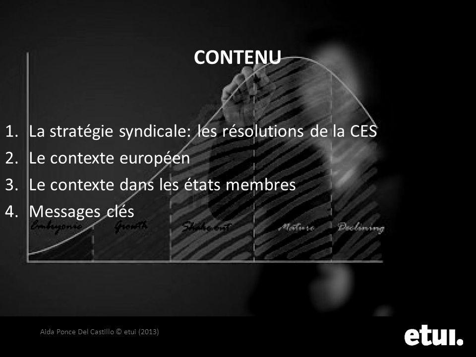 CONTENU 1.La stratégie syndicale: les résolutions de la CES 2.Le contexte européen 3.Le contexte dans les états membres 4.Messages clés Aida Ponce Del