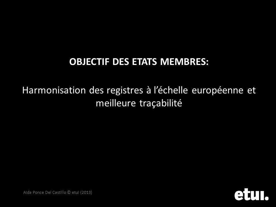 OBJECTIF DES ETATS MEMBRES: Harmonisation des registres à léchelle européenne et meilleure traçabilité Aida Ponce Del Castillo © etui (2013)