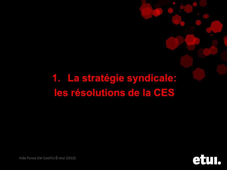 1. La stratégie syndicale: les résolutions de la CES Aida Ponce Del Castillo © etui (2013)