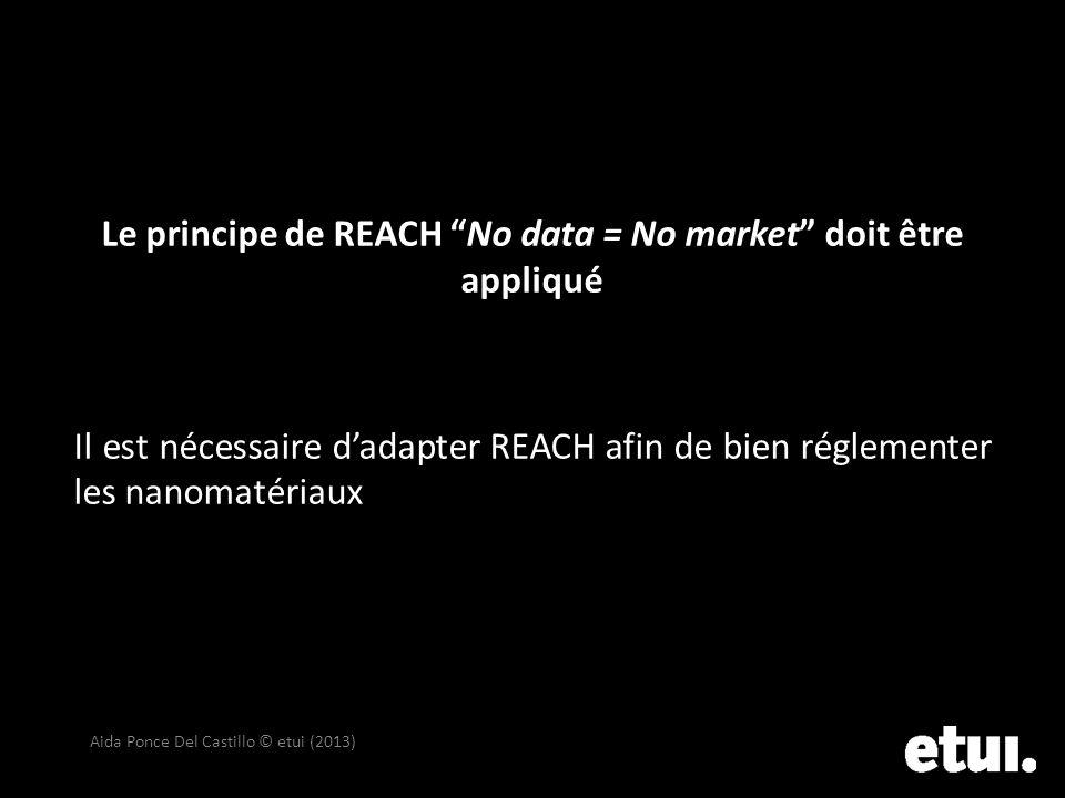 Le principe de REACH No data = No market doit être appliqué Il est nécessaire dadapter REACH afin de bien réglementer les nanomatériaux Aida Ponce Del
