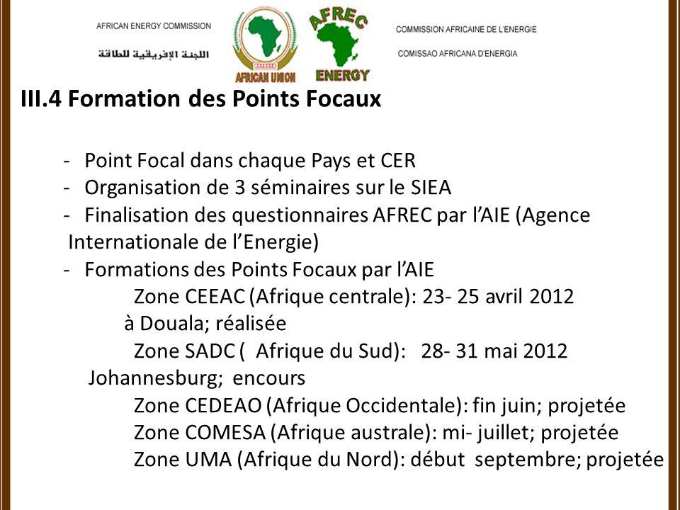 III.4 Formation des Points Focaux -Point Focal dans chaque Pays et CER -Organisation de 3 séminaires sur le SIEA -Finalisation des questionnaires AFREC par lAIE (Agence Internationale de lEnergie) -Formations des Points Focaux par lAIE Zone CEEAC (Afrique centrale): 23- 25 avril 2012 à Douala; réalisée Zone SADC ( Afrique du Sud): 28- 31 mai 2012 Johannesburg; encours Zone CEDEAO (Afrique Occidentale): fin juin; projetée Zone COMESA (Afrique australe): mi- juillet; projetée Zone UMA (Afrique du Nord): début septembre; projetée