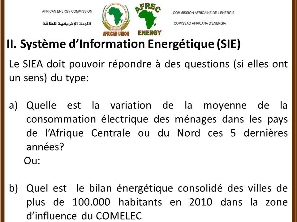 Le SIEA doit pouvoir répondre à des questions (si elles ont un sens) du type: a)Quelle est la variation de la moyenne de la consommation électrique des ménages dans les pays de lAfrique Centrale ou du Nord ces 5 dernières années.