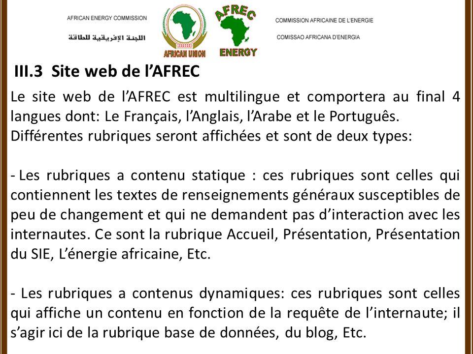 III.3 Site web de lAFREC Le site web de lAFREC est multilingue et comportera au final 4 langues dont: Le Français, lAnglais, lArabe et le Português.