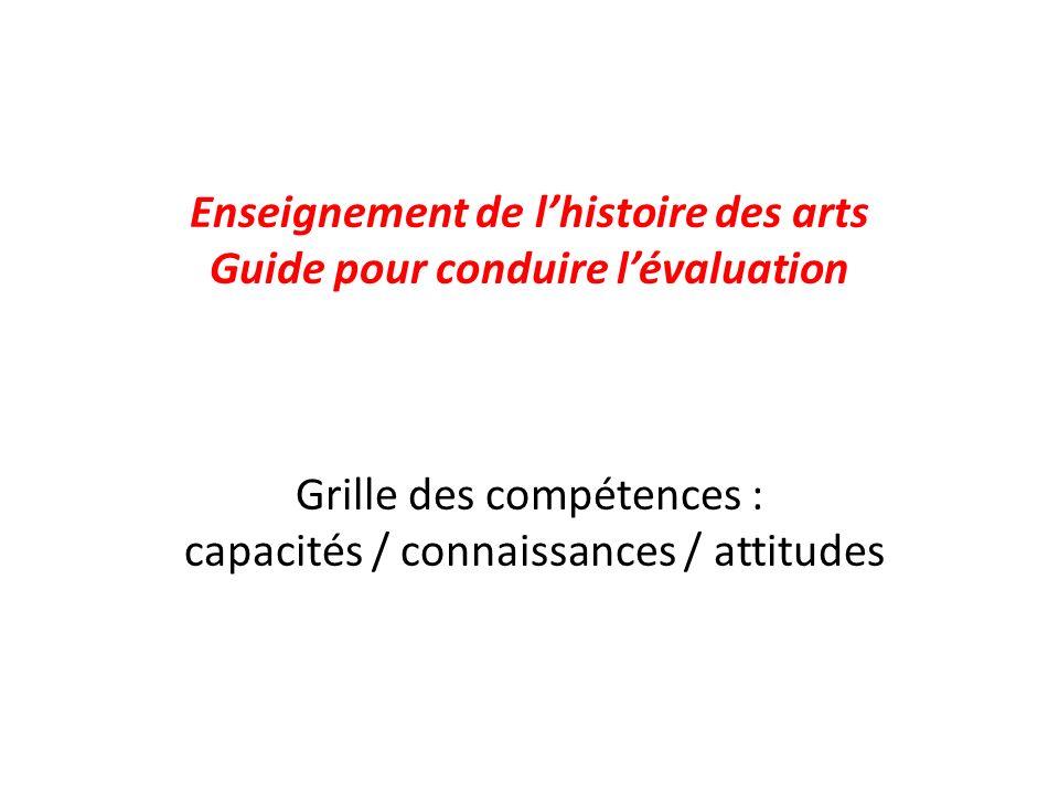 Enseignement de lhistoire des arts Guide pour conduire lévaluation Grille des compétences : capacités / connaissances / attitudes
