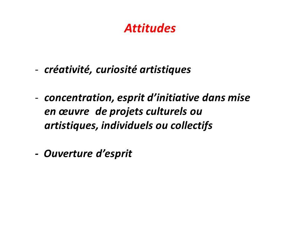 Attitudes -créativité, curiosité artistiques -concentration, esprit dinitiative dans mise en œuvre de projets culturels ou artistiques, individuels ou