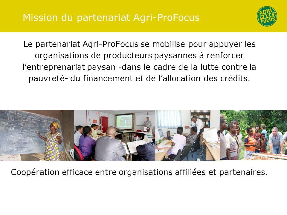 Mission du partenariat Agri-ProFocus Le partenariat Agri-ProFocus se mobilise pour appuyer les organisations de producteurs paysannes à renforcer lentreprenariat paysan -dans le cadre de la lutte contre la pauvreté- du financement et de lallocation des crédits.