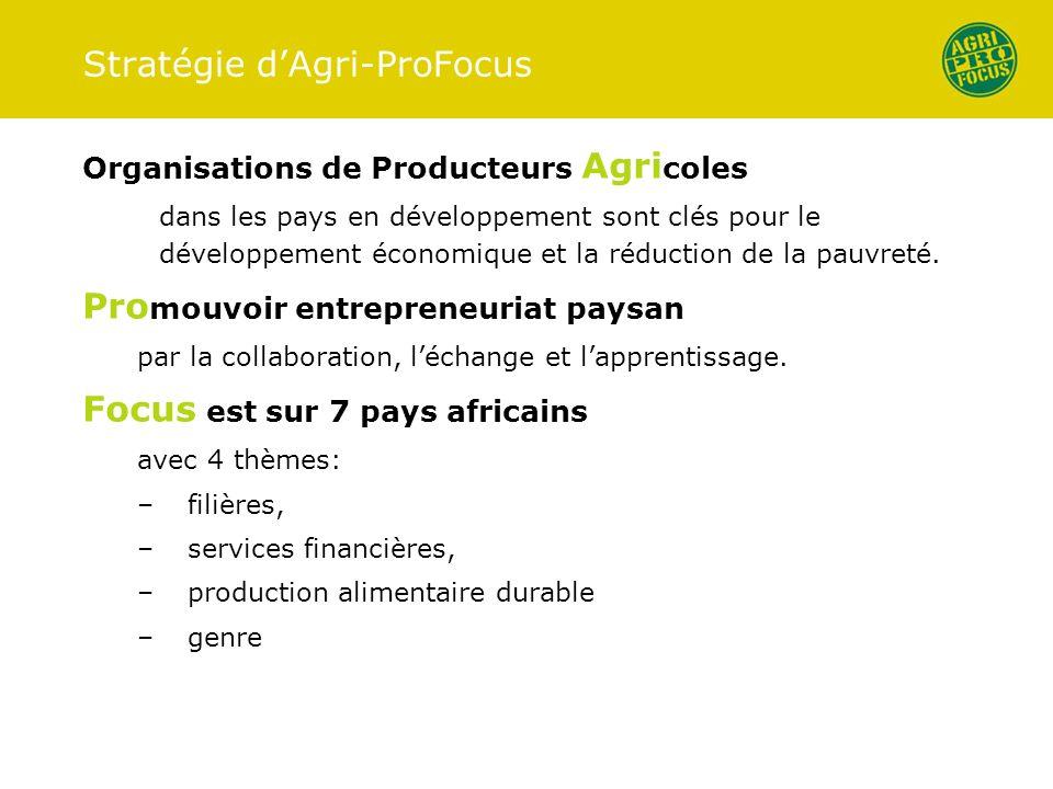 Stratégie dAgri-ProFocus Organisations de Producteurs Agri coles dans les pays en développement sont clés pour le développement économique et la réduction de la pauvreté.