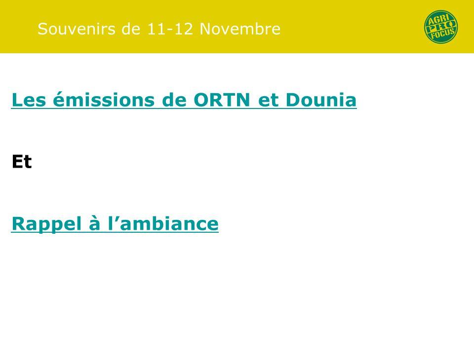 Souvenirs de 11-12 Novembre Les émissions de ORTN et Dounia Et Rappel à lambiance