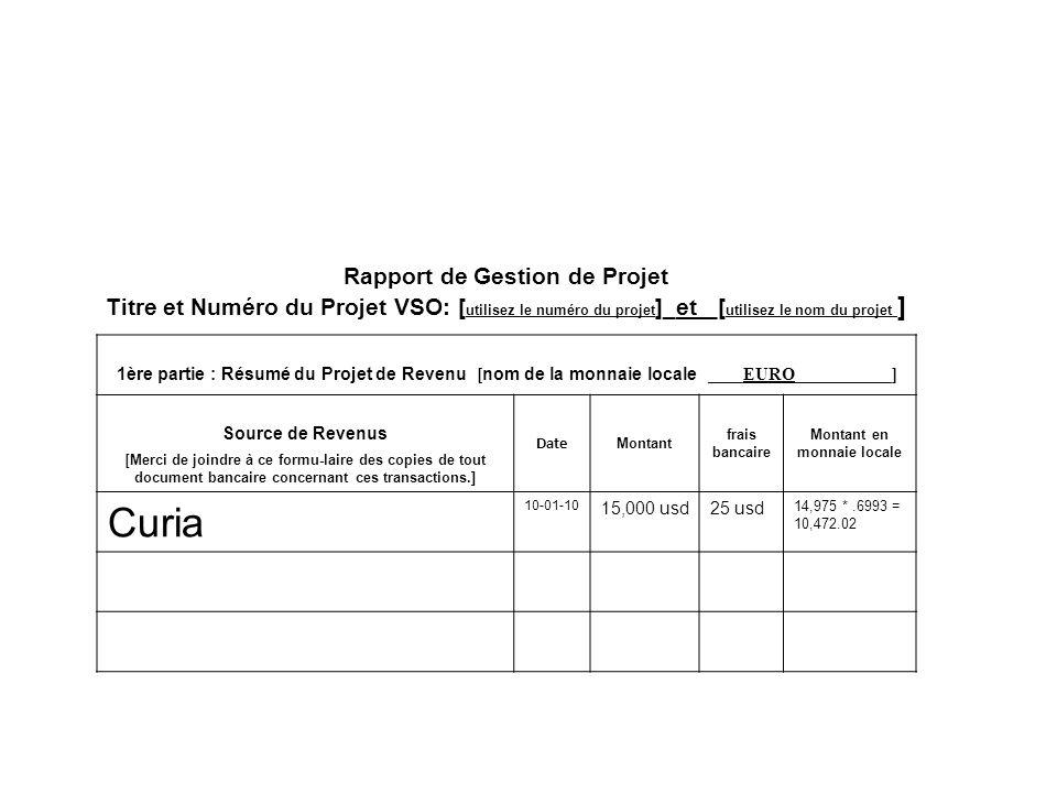 Rapport de Gestion de Projet Titre et Numéro du Projet VSO: [ utilisez le numéro du projet ]_et _[ utilisez le nom du projet ] 1ère partie : Résumé du Projet de Revenu [ nom de la monnaie locale ____EURO___________] Source de Revenus [ Merci de joindre à ce formu-laire des copies de tout document bancaire concernant ces transactions.] Date Montant frais bancaire Montant en monnaie locale Curia 10-01-10 15,000 usd25 usd 14,975 *.6993 = 10,472.02