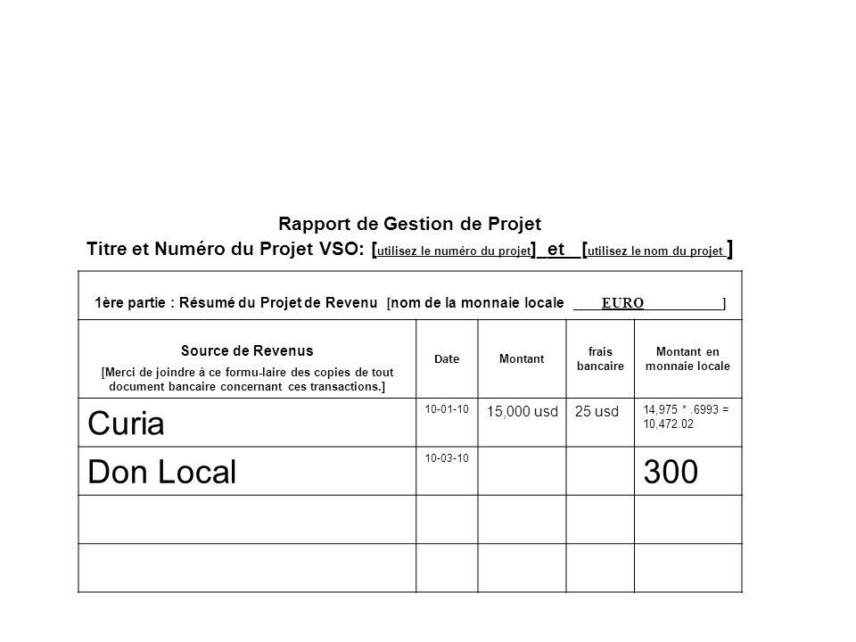 Rapport de Gestion de Projet Titre et Numéro du Projet VSO: [ utilisez le numéro du projet ]_et _[ utilisez le nom du projet ] 1ère partie : Résumé du Projet de Revenu [ nom de la monnaie locale ____EURO___________] Source de Revenus [ Merci de joindre à ce formu-laire des copies de tout document bancaire concernant ces transactions.] Date Montant frais bancaire Montant en monnaie locale Curia 10-01-10 15,000 usd25 usd 14,975 *.6993 = 10,472.02 Don Local 10-03-10 300