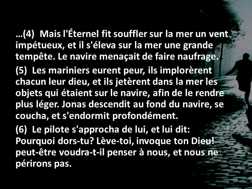 …(4) Mais l'Éternel fit souffler sur la mer un vent impétueux, et il s'éleva sur la mer une grande tempête. Le navire menaçait de faire naufrage. (5)