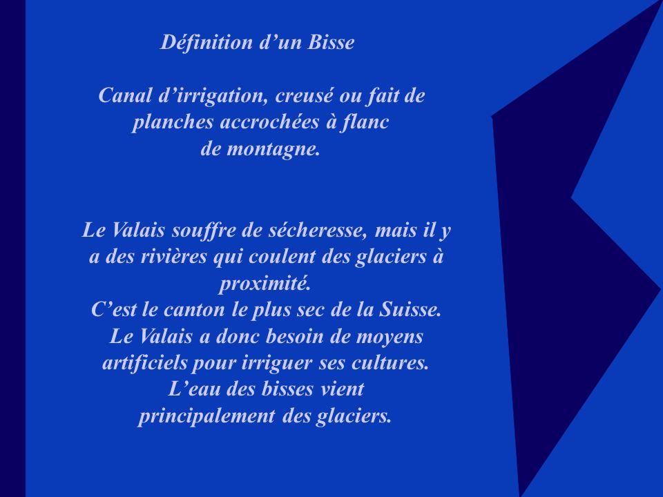 Définition dun Bisse Canal dirrigation, creusé ou fait de planches accrochées à flanc de montagne.