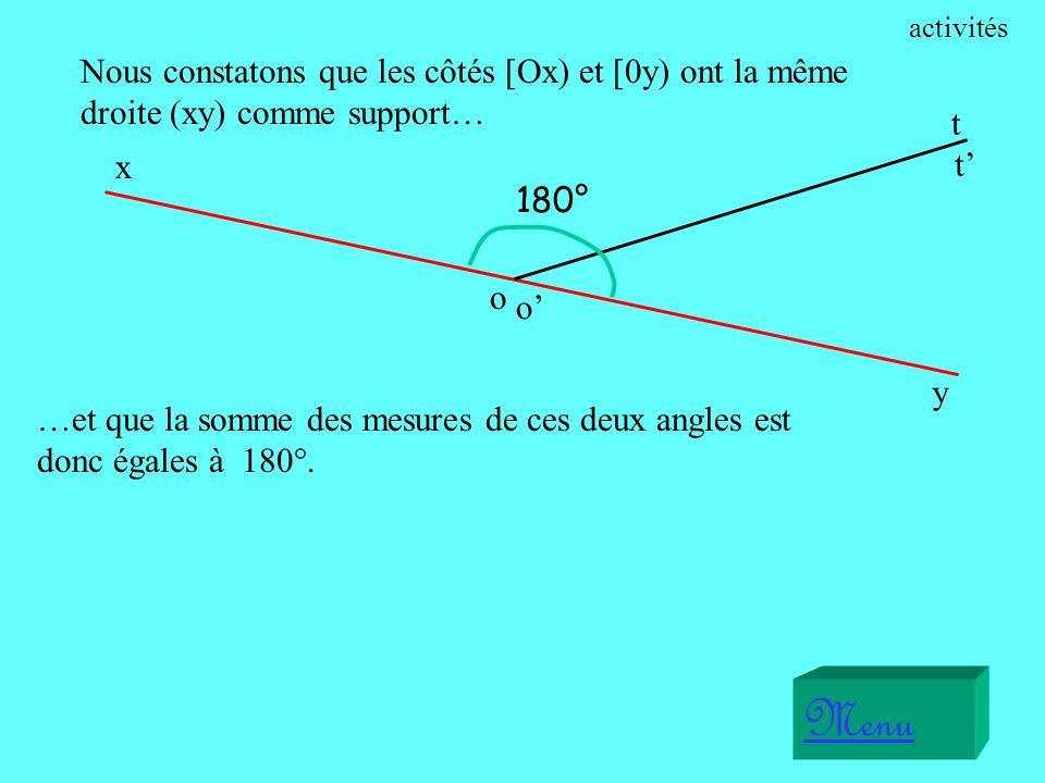 Nous constatons que les côtés [Ox) et [0y) ont la même droite (xy) comme support… x o t Menu o y t 180° …et que la somme des mesures de ces deux angles est donc égales à 180°.