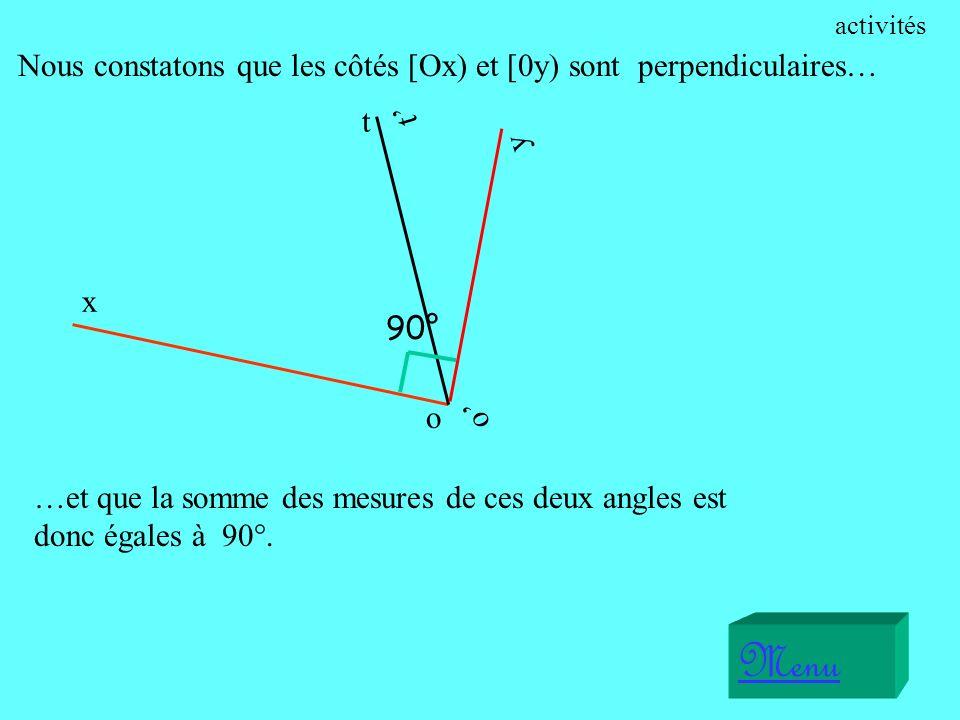 x o t Menu o y t Nous constatons que les côtés [Ox) et [0y) sont perpendiculaires… …et que la somme des mesures de ces deux angles est donc égales à 90°.