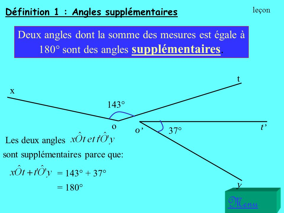 Menu Deux angles dont la somme des mesures est égale à 180° sont des angles supplémentaires.