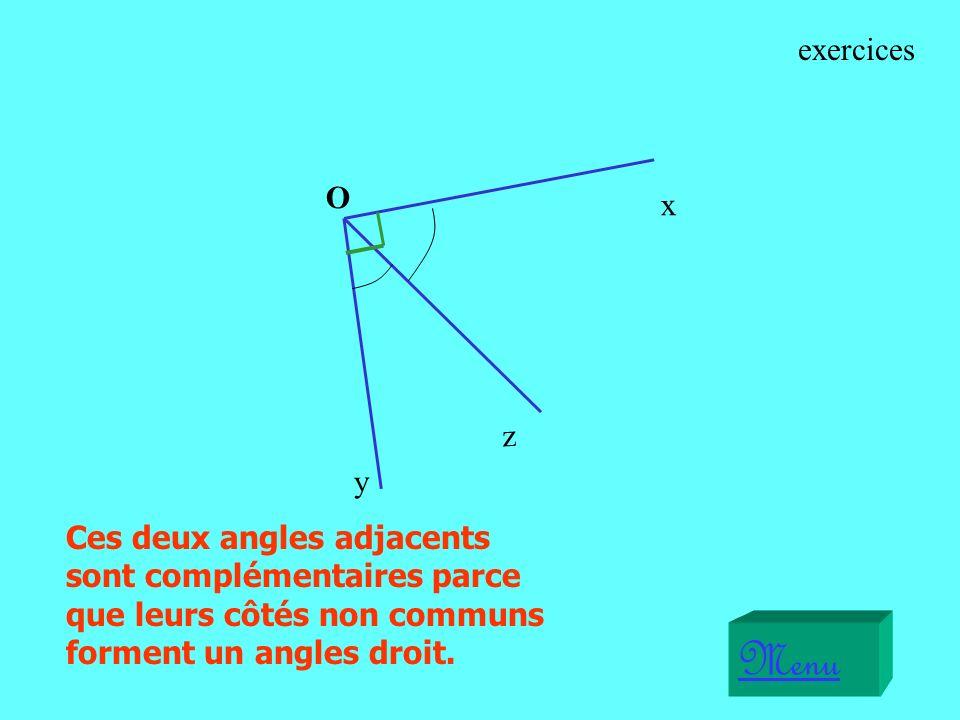 Ces deux angles adjacents sont complémentaires parce que leurs côtés non communs forment un angles droit.