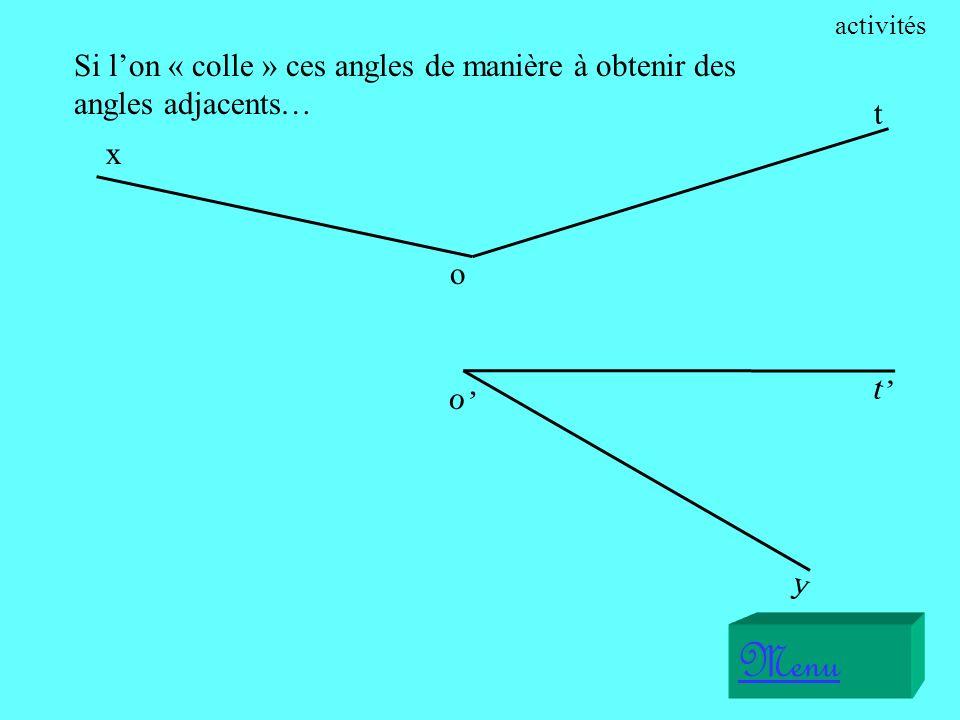Sur les figures qui vont suivre, il sagit de reconnaître si les angles proposés sont supplémentaire ou complémentaire.