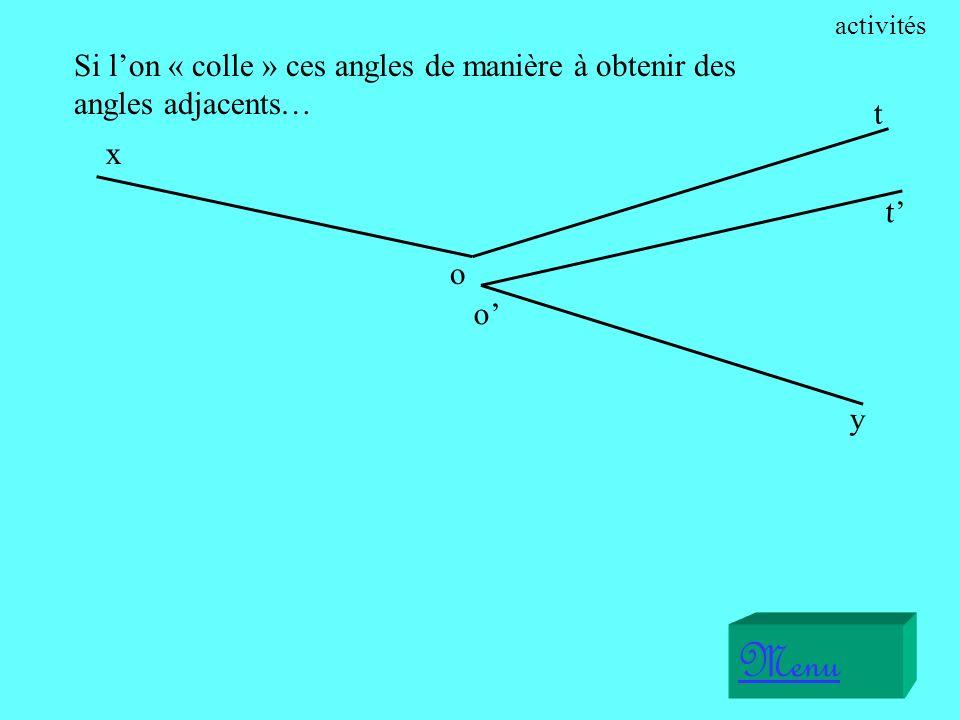 52° Ces deux angles sont supplémentaires parce que 52° + 128° = 180°. Menu 128° exercices