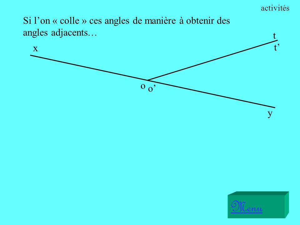Menu x o t o y t Nous constatons que les côtés [Ox) et [0y) ont la même droite (xy) comme support… activités