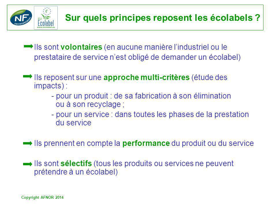 Copyright AFNOR 2014 Sur quels principes reposent les écolabels ? Ils sont volontaires (en aucune manière lindustriel ou le prestataire de service nes