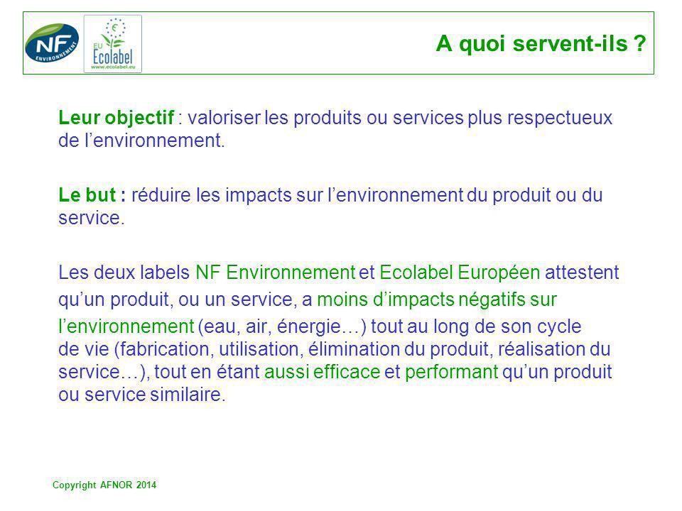Copyright AFNOR 2014 A quoi servent-ils ? Leur objectif : valoriser les produits ou services plus respectueux de lenvironnement. Le but : réduire les