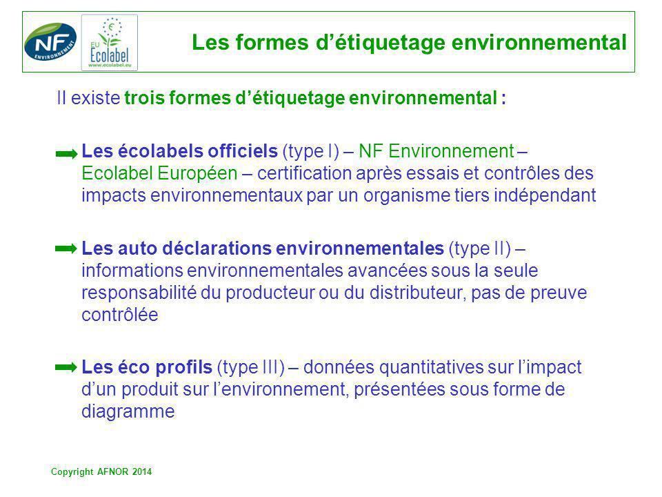 Copyright AFNOR 2014 Les formes détiquetage environnemental Il existe trois formes détiquetage environnemental : Les écolabels officiels (type I) – NF