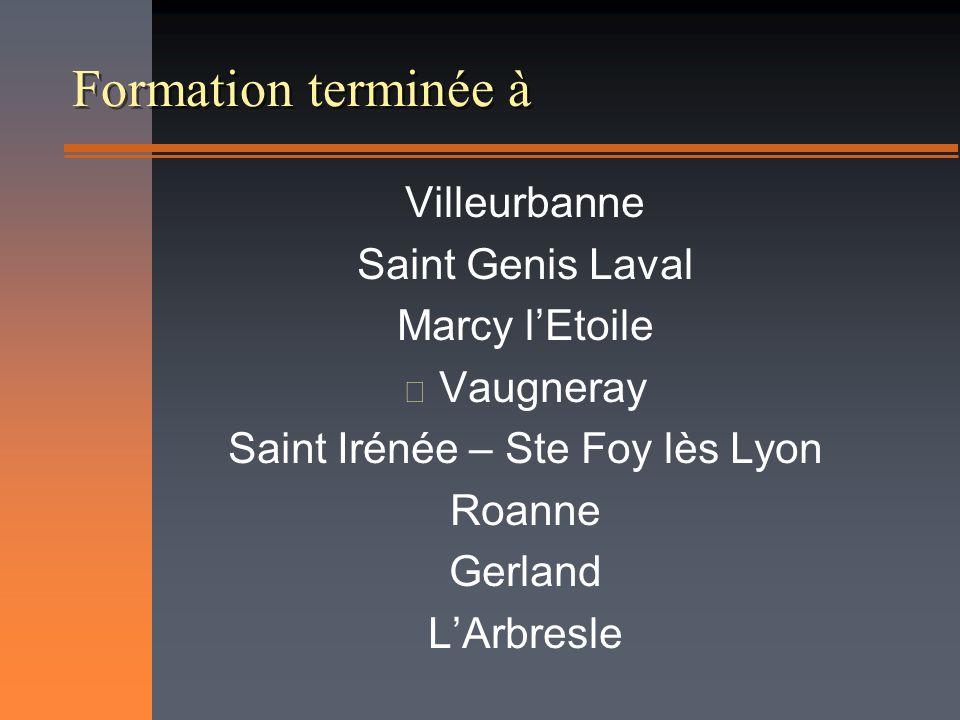 Formation terminée à Villeurbanne Saint Genis Laval Marcy lEtoile n Vaugneray Saint Irénée – Ste Foy lès Lyon Roanne Gerland LArbresle