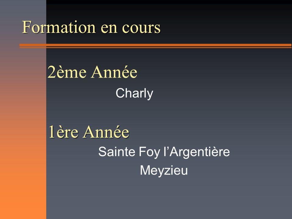 Formation en cours Sainte Foy lArgentière Meyzieu 1ère Année 2ème Année Charly