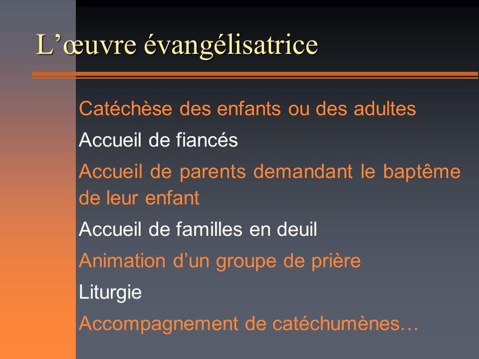 Lœuvre évangélisatrice Catéchèse des enfants ou des adultes Accueil de fiancés Accueil de parents demandant le baptême de leur enfant Accueil de famil