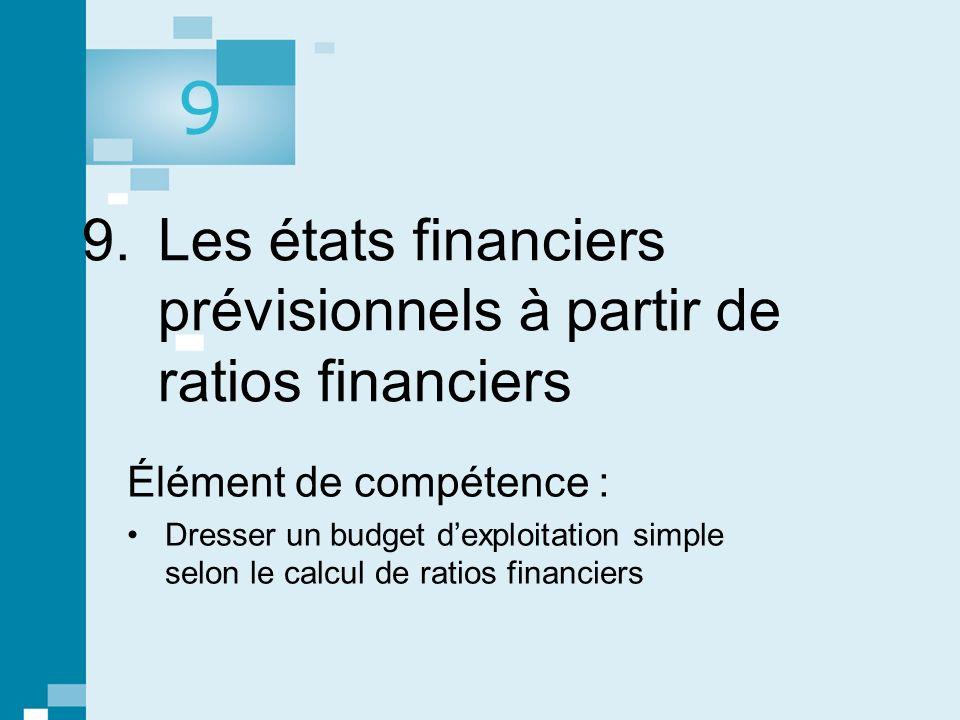 1 © gaëtan morin éditeur ltée, Prévisions, contrôle budgétaire et mesure de la performance. 9. Les états financiers prévisionnels à partir de ratios f